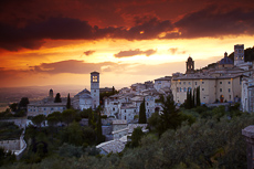 Sunset over Assisi, Umbria, Italy