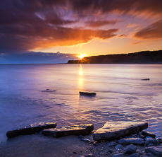 Kimmeridge Bay at Sunset, Dorset, England