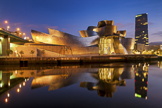Guggenheim Museum at Twilight, Bilbao, Basque Country, Spain