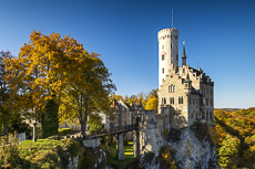 Lichtenstein Castle in Autumn, Baden-Wurttemberg, Germany