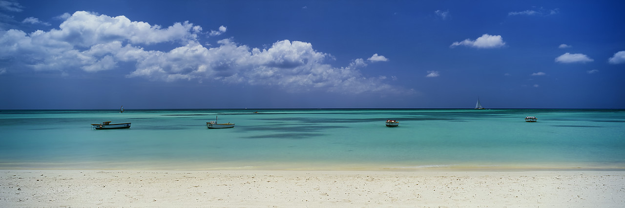 #030322-3 - Tropical Beach with Boats, Palm Beach, Aruba, Lesser Antillies, Caribbean