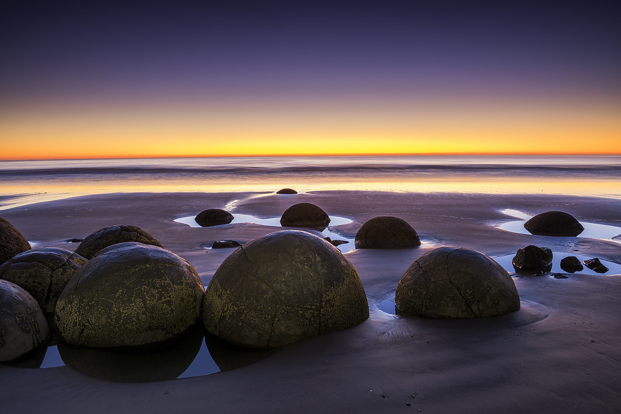 #160271-1 - Moeraki Boulders at Sunrise, Otago Coast, New Zealand