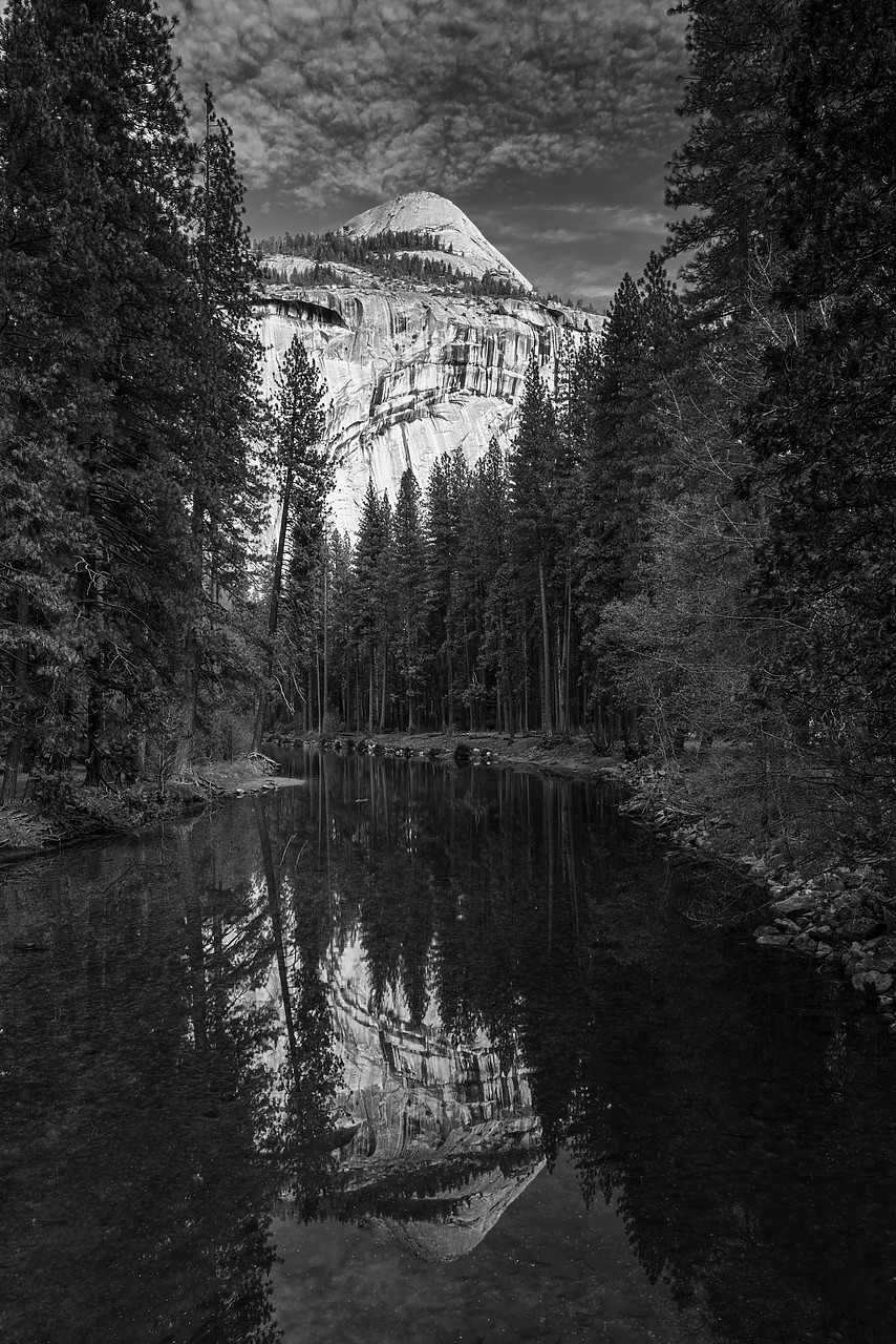#180003-1 - North Dome Reflecting in Merced River, Yosemite National Park, California, USA