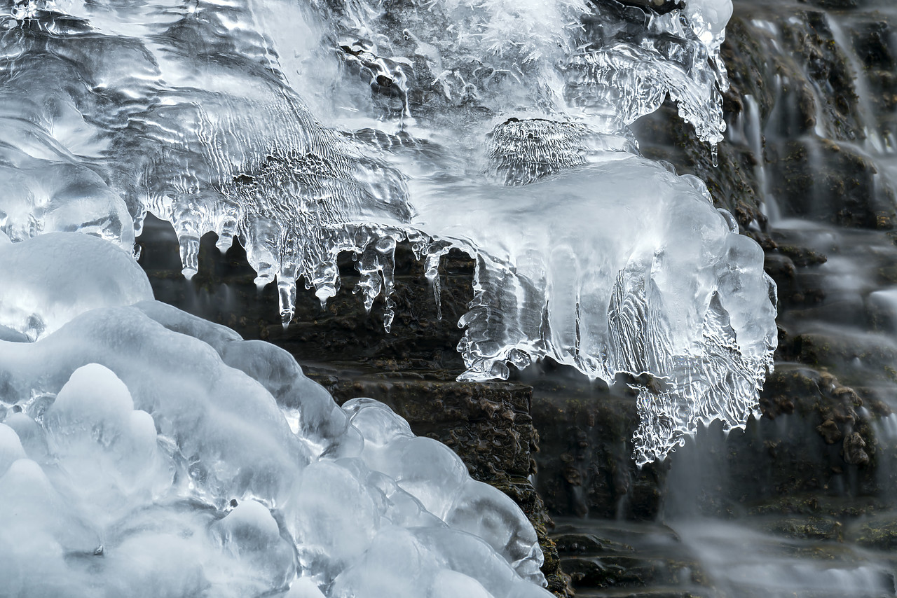 #180064-1 - Ice Formations on Fan Falls in Winter, Jasper National Park, Aberta, Canada