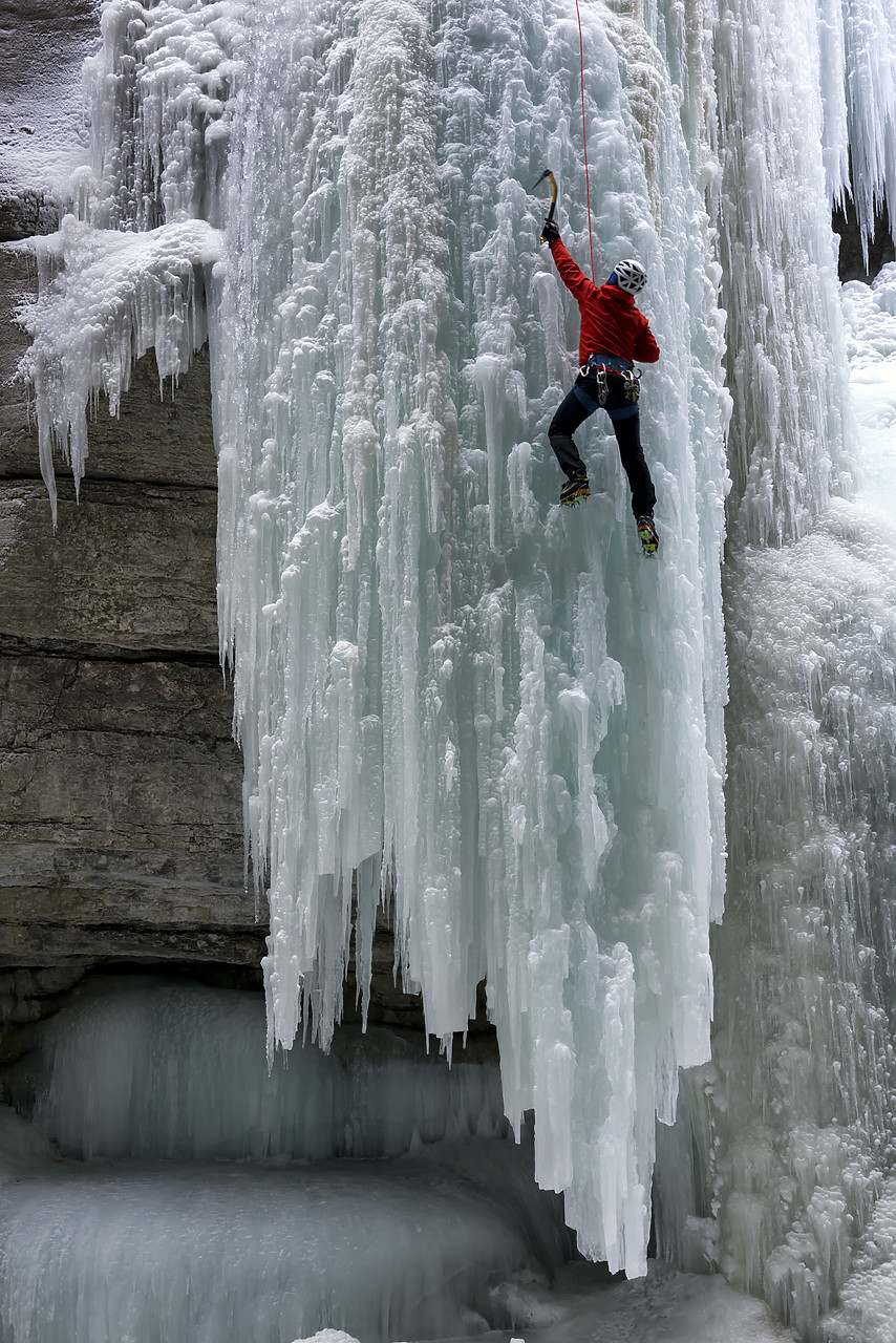 #180066-1 - Ice Climber in Maligne Canyon, Jasper National Park, Aberta, Canada