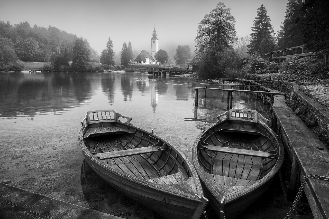 #180452-1 - Boats on Lake Bohinj,  Triglav National Park, Slovenia