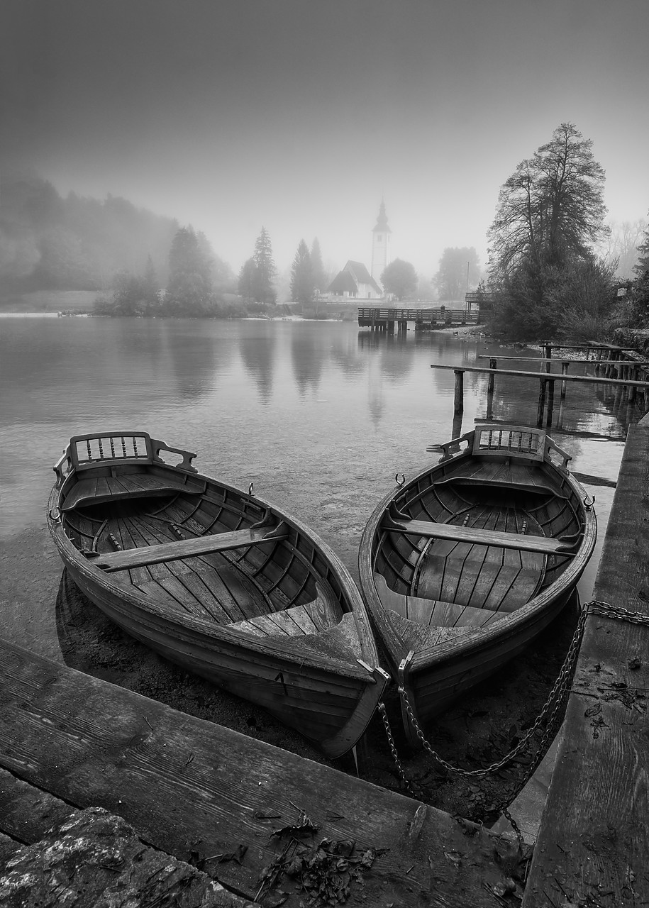 #180452-2 - Boats on Lake Bohinj,  Triglav National Park, Slovenia