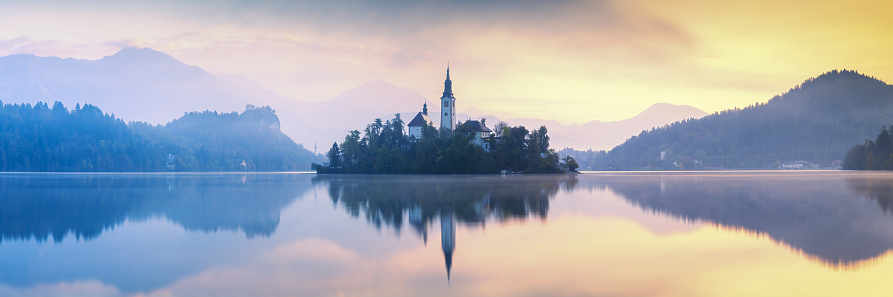 #180461-1 - Assumption of Mary's Pilgrimage Church at Dawn, Lake Bled, Slovenia