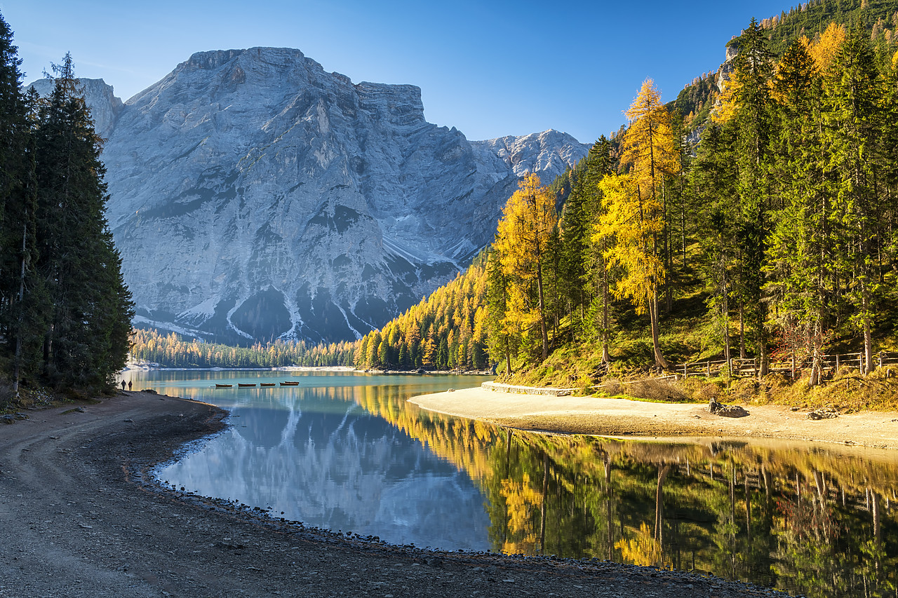 #180496-1 - Lago di Braies in Autumn, South Tyrol, Bolzano, Dolomites, Italy