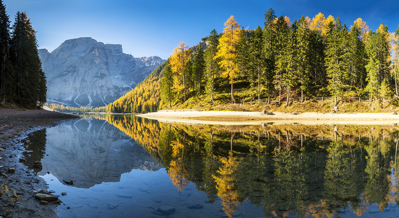 #180498-1 - Lago di Braies in Autumn, South Tyrol, Bolzano, Dolomites, Italy