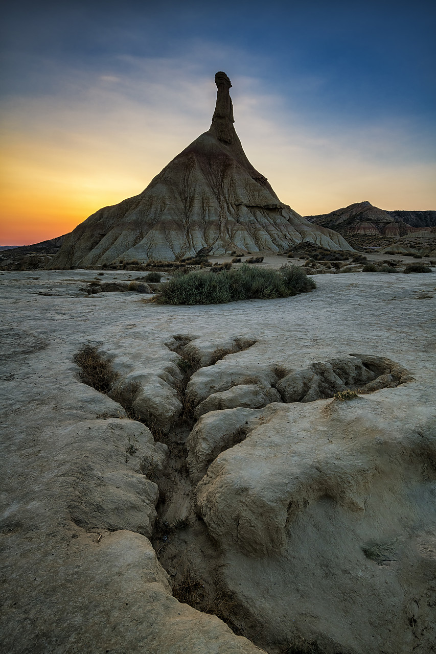 #190492-1 - Castildetierra at Sunrise, Parque Natural de las Bardenas Reales, Navarre, Spain
