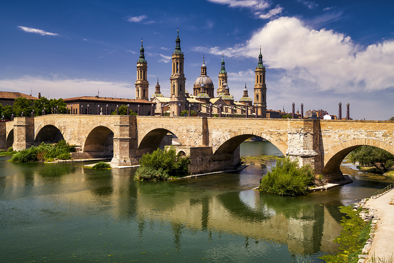 #190496-1 - Basilica-Cathedral of Our Lady of the Pillar & Roman Bridge Over Ebro River, Zaragoza, Spain