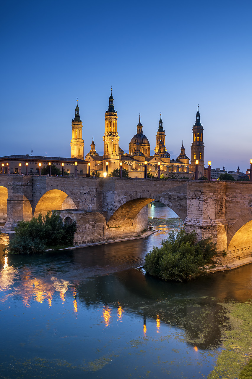 #190497-2 - Basilica-Cathedral of Our Lady of the Pillar & Roman Bridge Over Ebro River at Dusk, Zaragoza, Spain