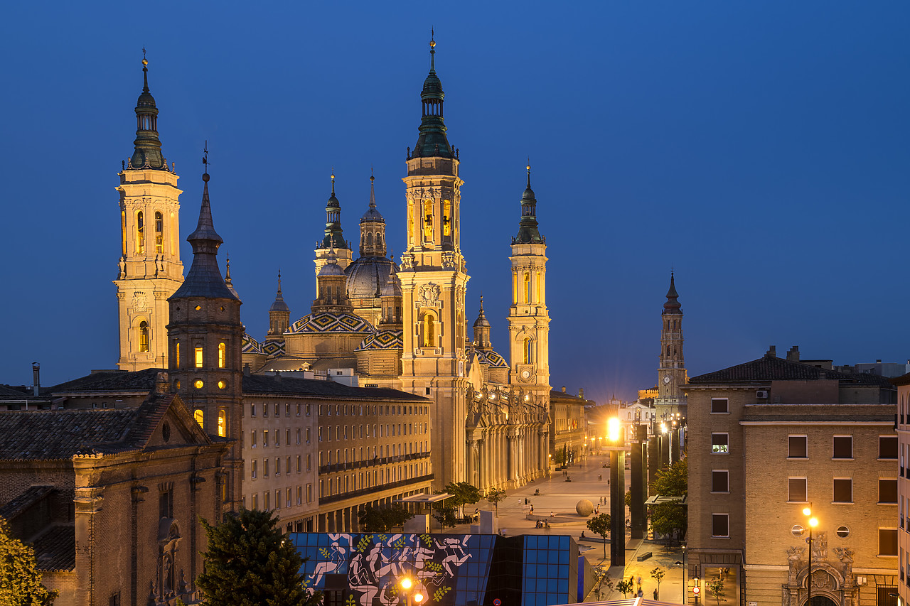 #190503-1 - Basilica-Cathedral of Our Lady of the Pillar at Twilight, Zaragoza, Spain