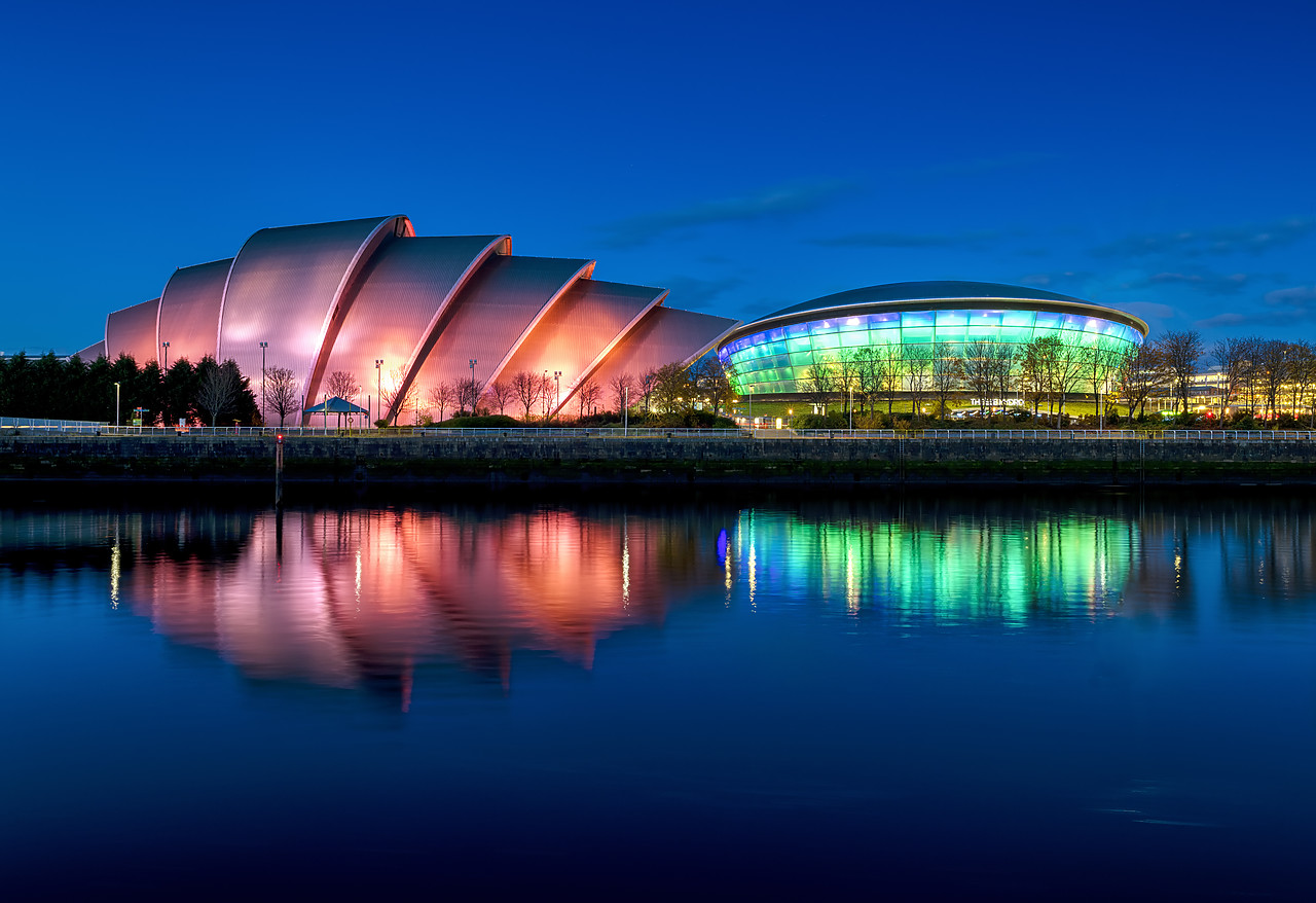 #190795-1 - The SSE Hydro & The Clyde Auditorium Reflecting in the River Clyde, Glasgow, Scotland