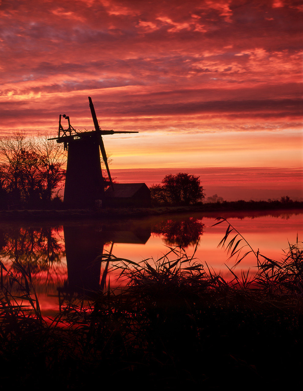 #400137-1 - Oby Mill at Sunrise, Norfolk Broads National Park, Norfolk, England
