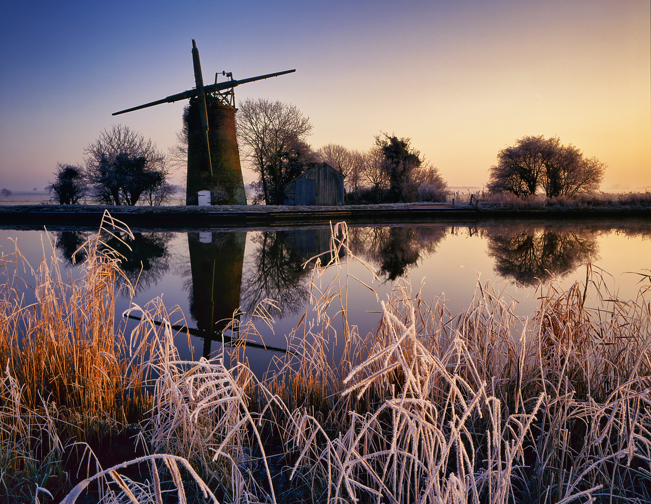 #400138-1 - Oby Mill in Winter, Norfolk Broads National Park, Norfolk, England