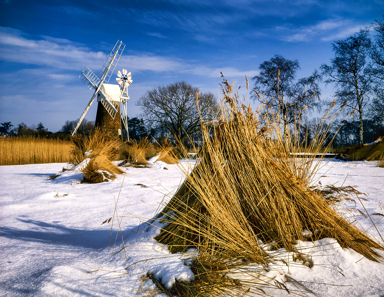 #400140-1 - Turf Fen Mill in Winter, Norfolk Broads National Park, Norfolk, England