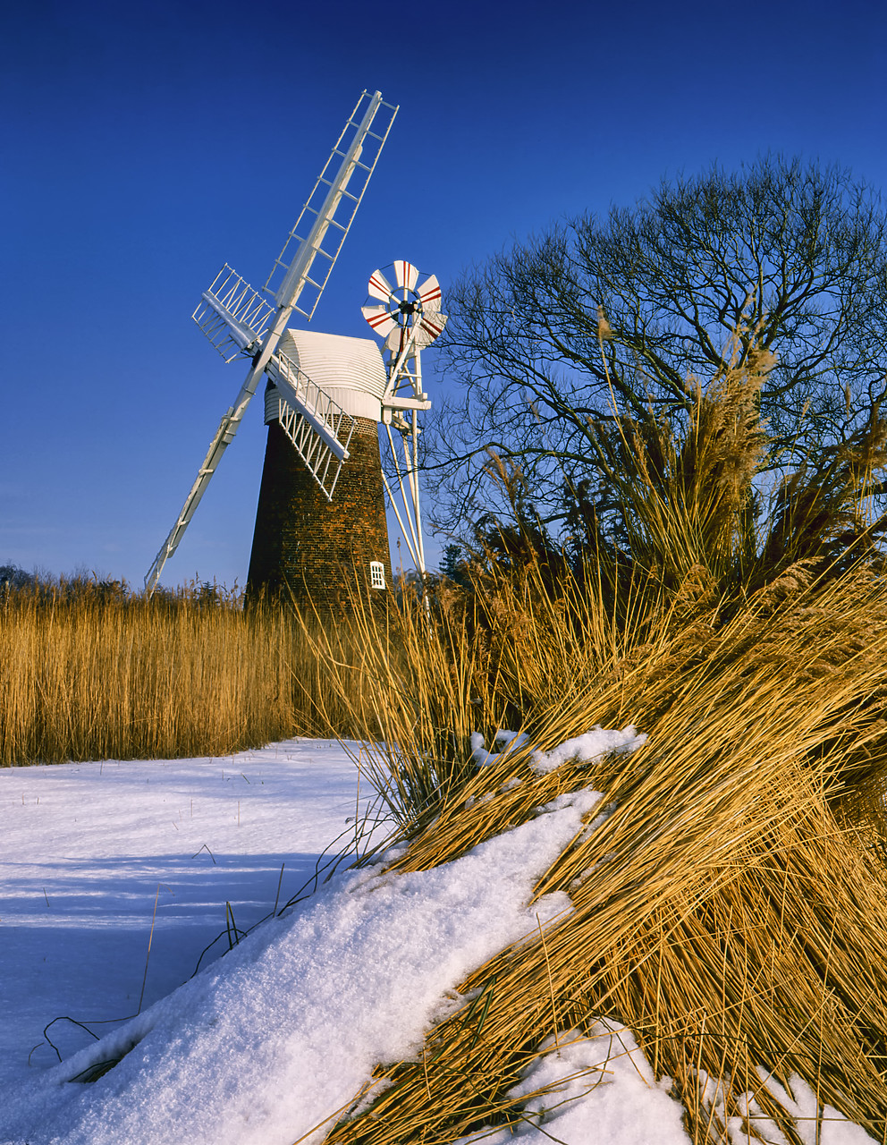 #400141-1 - Turf Fen Mill in Winter, Norfolk Broads National Park, Norfolk, England