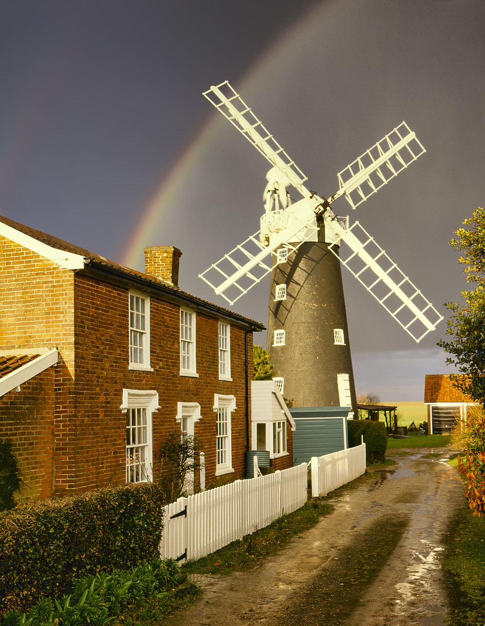 #400142-1 - Rainbow over Wicklewood Mill, Norfolk, England